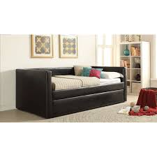 acme melbourne upholstered day bed with trundle hayneedle