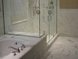 bathroom backsplash ideas glass shower bath white marble tiles