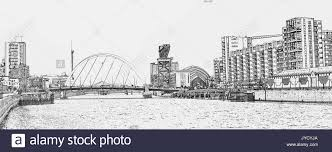 pencil sketch of the clyde arc road bridge spanning the river