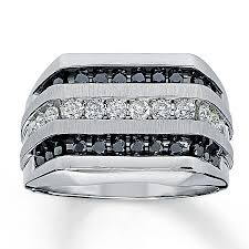 men s rings jared men s black diamond ring 1 ct tw cut 14k white gold