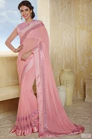 magnificent pink color saree with fancy lace patch border