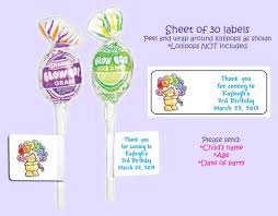 labels for party favors personalized birthday party lollipop labels party favors