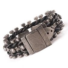 bracelet woven images Leather woven stainless steel skull bracelet ancient explorers jpg