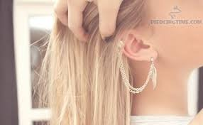 earrings with chain ear cartilage to lobe ear piercings with feather chain earring
