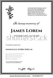 funeral template card simple cross black stock vector 613484717