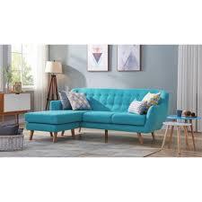 canape d angle bleu canapé d angle réversible tissu bleu pieds bois scandinave 207 cm