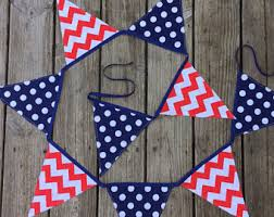 4th Of July Bunting Decorations Red Blue Stars Printable Bunting Banner Patriotic American