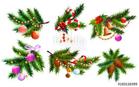 Decorated Christmas Tree Branches by Christmas Design Elements Set Christmas Tree Branches And