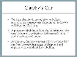 four symbols in the great gatsby the great gatsby chapter four learning objectives develop the