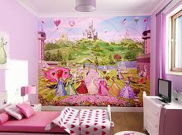kids bedroom princess castle mural wallpaper bedroom design