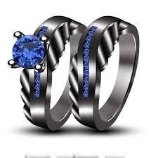 black and blue wedding rings wedding engagement rings set blue sapphire handmade black