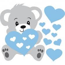 stickers nounours pour chambre bébé stickers nounours gris et coeurs bleus pour bébé garçon décorécébo