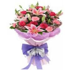 Roses And Lilies Celebrating Love Beautiful Bunch Of Lilies Carnations And Roses
