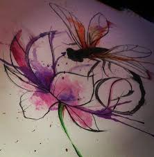 watercolor dragonfly over big open bud flower tattoo design