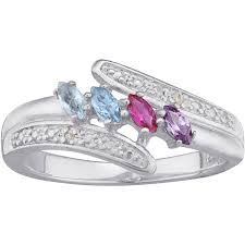 mothers day rings personalized sterling silver or 18k gold silver marquise