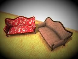 3d model antique sofa lp pbr game ready 3x materials vr ar low