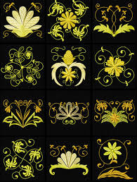 4 hobby machine embroidery designs flowers gold