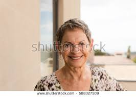 portrait older woman short grey hair stock photo 588327524