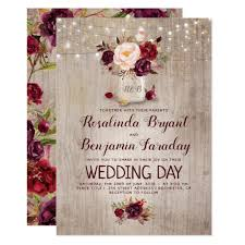 rustic wedding invitation burgundy floral jar rustic wedding card zazzle