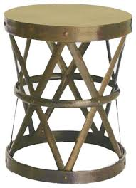 Contemporary Accent Table with Gold Drum Accent Tables Silver Tam Tam Hammered Accent Table Tozai