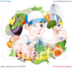 gardening emoji clipart of a young brunette white male gardener in blue holding