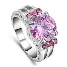 pink wedding rings images Size 9 women 39 s pink sapphire crystal wedding ring white rhodium jpg