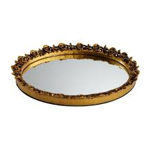 rose 9 in w oval mirror tray in gold oval mirror trays and home