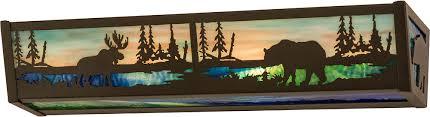 Meyda Tiffany Wall Sconce Meyda Tiffany 178257 Moose U0026 Black Bear Rustic Timeless Bronze