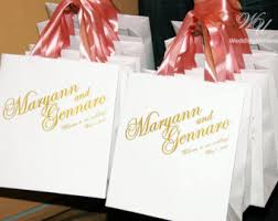 ribbon with names wedding welcome bags with satin ribbon and names