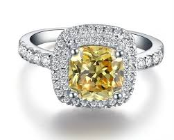 golden stone rings images Top brand 2carat yellow cushion synthetic diamonds golden stone jpg