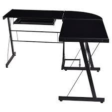Black Glass L Shaped Computer Desk by L Shape Glass Top Computer Desk Desks Office Furniture Furniture
