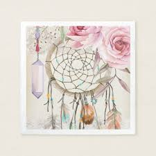 boho tribal chic dreamcatcher roses paper napkin zazzle com