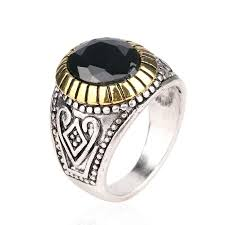 cheap mens rings images Vintage mens rings size 11 inlay black resin oval phnom penh jpg
