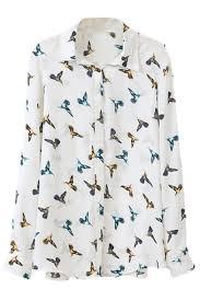 bird blouse white flying bird print sleeve chiffon blouse beautifulhalo com