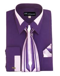 milano moda purple fashion french cuff shirt tie set sg34 stuff