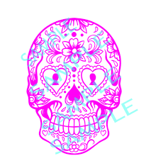 cut designs sugar skull with circle cut design