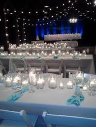 blue acrylic ice sprinkles tables and reception