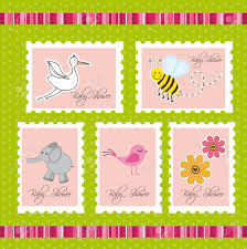 baby shower postage over green background vector royalty free