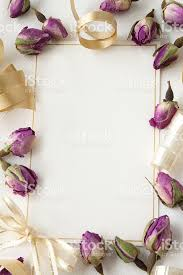 gold ribbon and purple floral blank invitation template stock