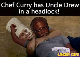Kyrie Irving Memes - chef curry has uncle drew in a headlock stephen curry and kyrie