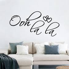 stickers phrase chambre chaude ooh la la sourire mur cours amovible amour coeur vinyle