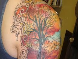 coloured tree tattoo on half sleeve tattoos book 65 000