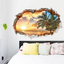 Schlafzimmer Deko Orange 3d Strand Sonne Meer Wandtattoo Wandaufkleber Wohnzimmer