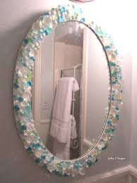 Glass Mirrors For Bathrooms Mirror In Small Bathroom Is A Diy With Sea Glass Crystals And