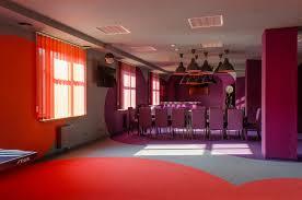 orange meets purple u201d office lounge and recreational space moco