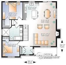 plan de maison avec cuisine ouverte w3147 v2 plain pied transitionnel avec 2 chambres aire ouverte