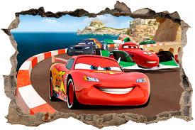 stickers trompe oeil mural hole cars