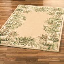 Area Rugs Beige Tropical Leaves Border Area Rug