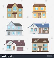 house vector illustration home exterior set stock vector 393420766