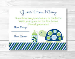 printable baby shower cards cute turtle guess how many game turtle baby shower candy